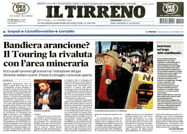 2013.09.11 il Tirreno_Bandiera arancione o CO2
