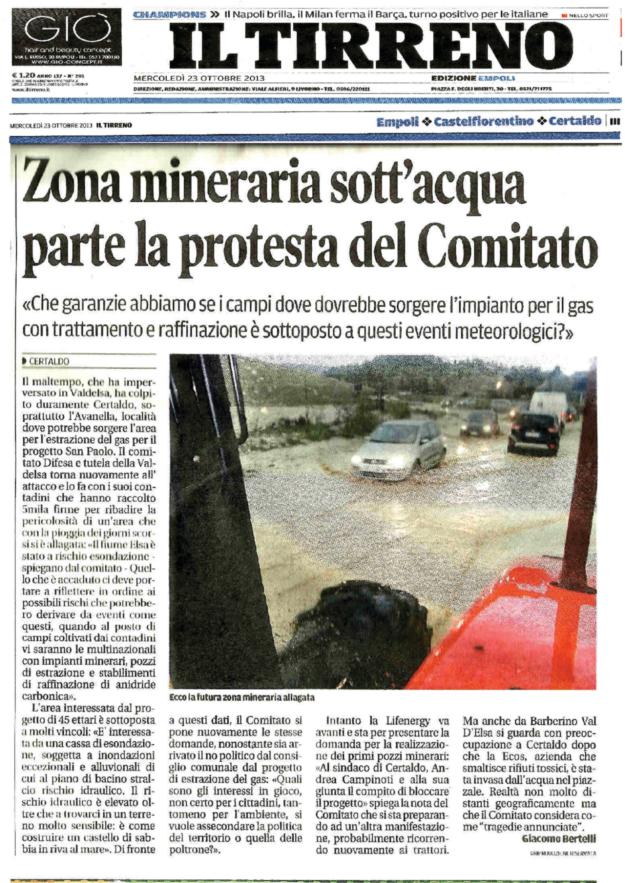 2013.10.23 il Tirreno_ Zona mineraria sott'acqua