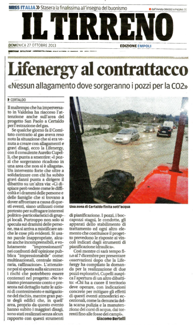 2013.10.27 il tirreno_lifenergy_no_allagato