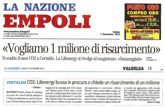 2013.11.09 la Nazione_Piazzini vuole 1 milione
