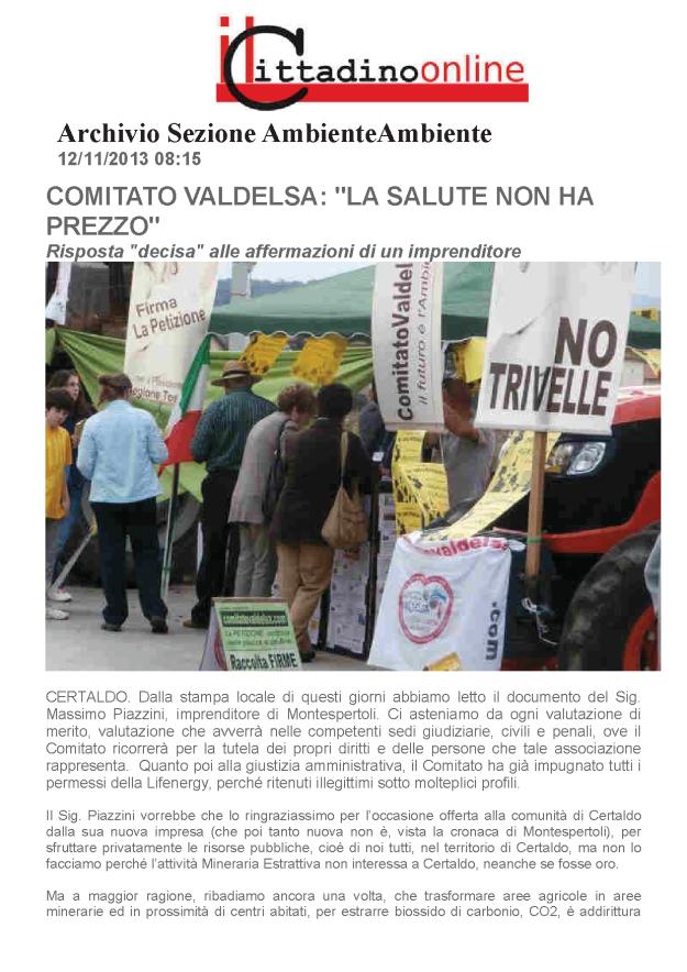 2013.11.12 Cittadino on line_ comitato risponde la salute non ha prezzo_1