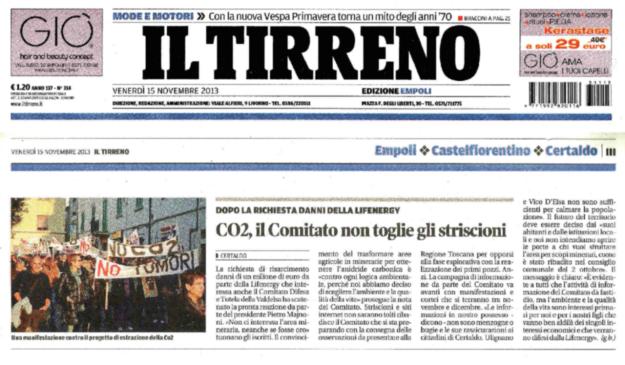 2013.11.15 ilTirreno_CO2 comitato non toglie striscioni