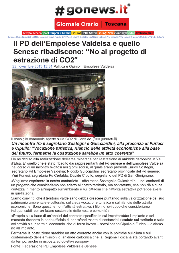 2013.11.22 gonews_PD empolese e senese NO CO2