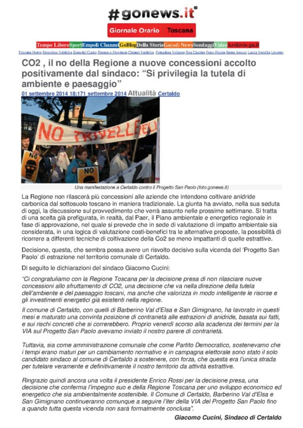 2014.09.01 gonews_Cucini CO2_la Regione direbbe di NO