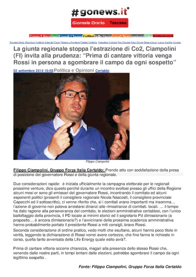 2014.09.02 gonews_Ciampolini_prudenza  NO CO2