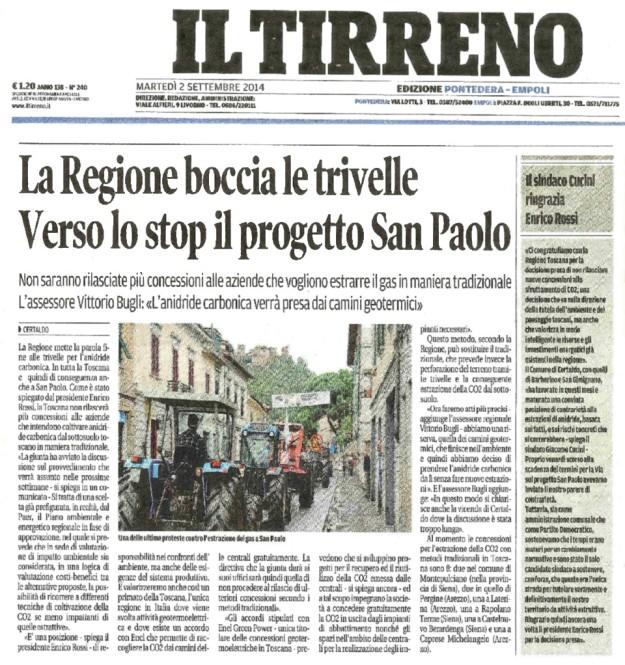 2014.09.02 Il Tirreno_laRegione boccia le trivelle