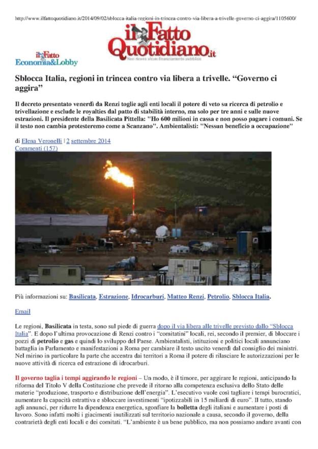 2014.09.02 IlFattoQuotidiano_Governo sblocca trivelle senza le Regioni_1