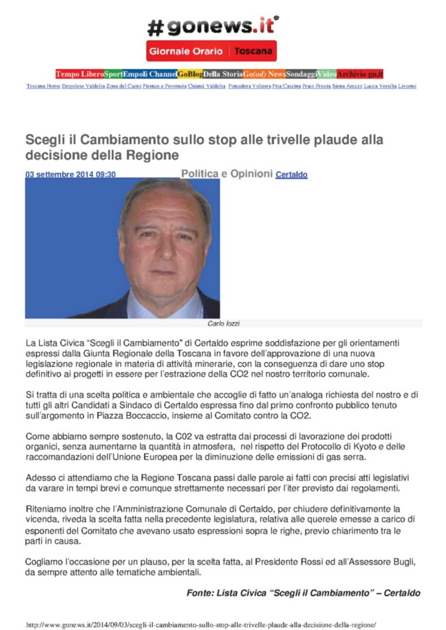 2014.09.03 gonews_Iozzi NO CO2 applaude la Regione