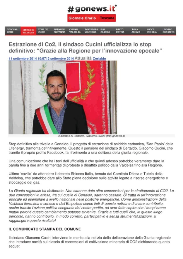 2014.09.11 Gonews_Cucini ufficializza lo stop CO2_01