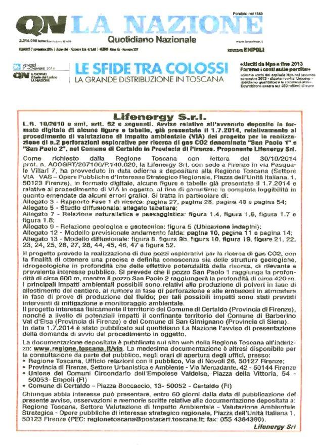 2014.11.07 la Nazione_Lifenergy nuovi documenti x VIA