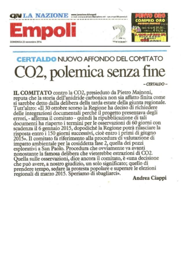 2014.11.23 LaNazione_CO2 nuovo affondo del Comitato