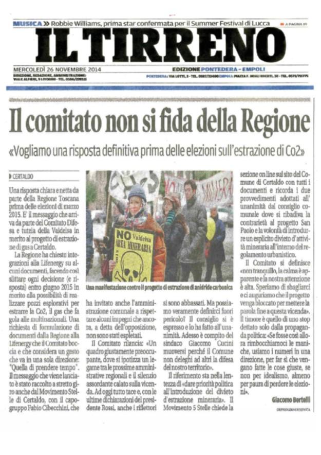 2014.11.26 il Tirreno_il comitato non si fida