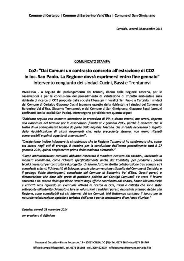 2014.11.28_comunicato congiunto tre amministrazioni