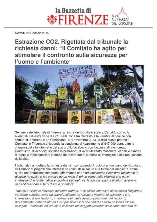 2015.01.20 Gazzetta di Firenze_rigettata richiesta danni_01