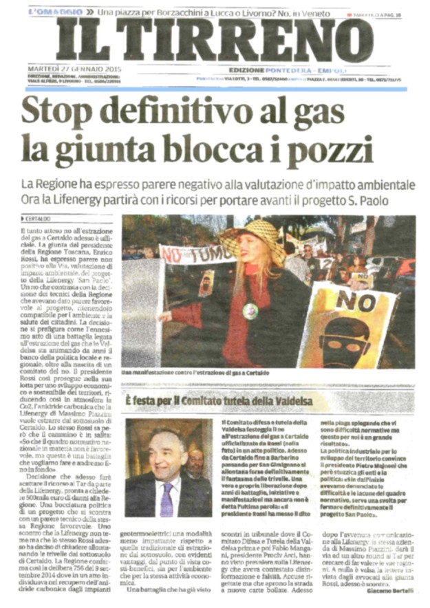 2015.01.27 ilTirreno_stop definitivo al gas