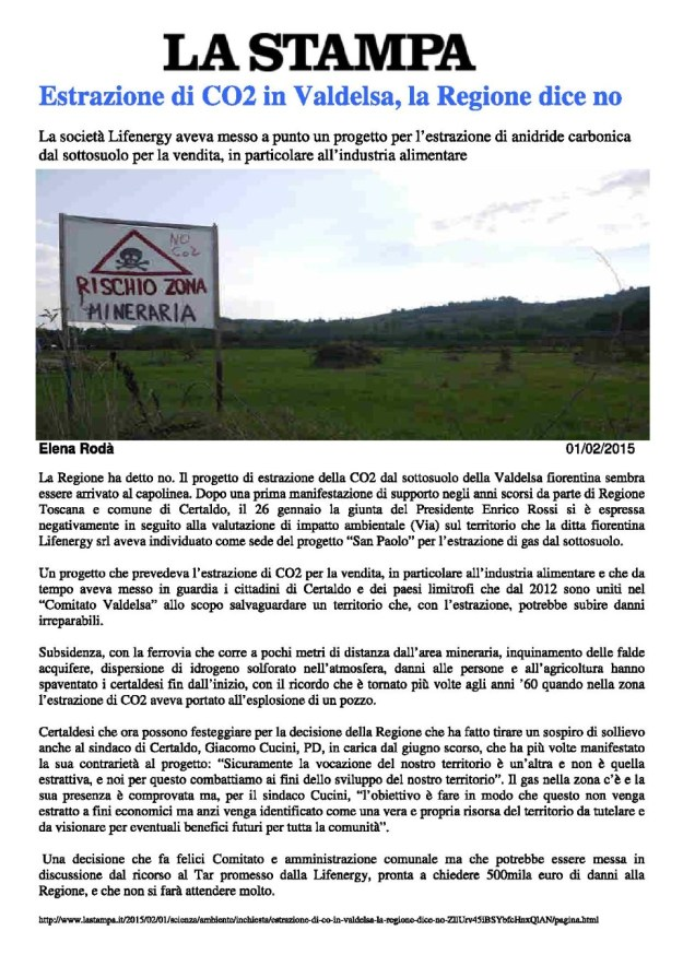2015.02.01 LaStampa_Estr... di CO2 in Valdelsa