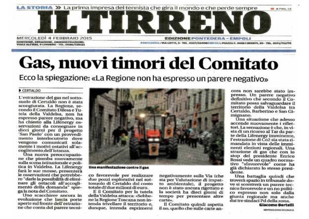 2015.02.04 il Tirreno_nu...timori del Comitato