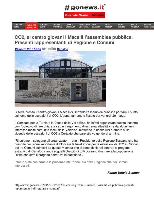 2015.03.19 Gonews_CO2 appuntamento ai Macelli