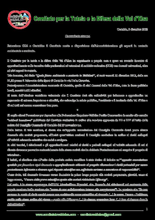 9-12-2012 Comunicato stampa_1