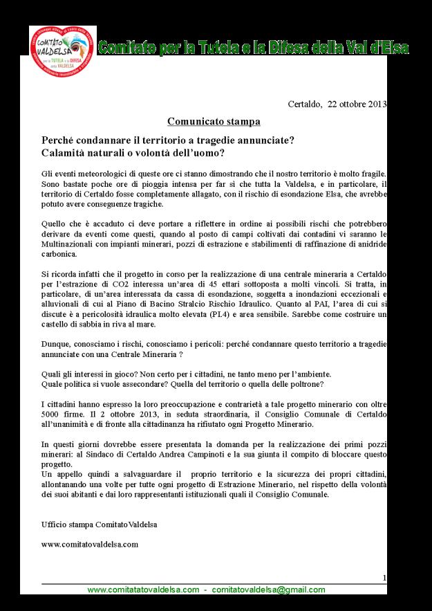 2013.10.22 comunicato stampa