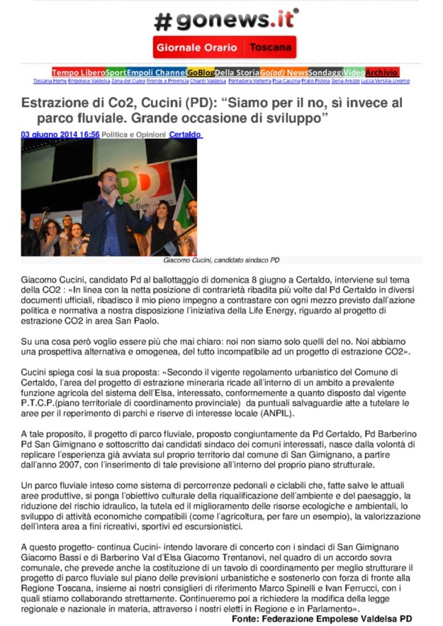 2014.06.03 gonews_Cucini dice NO alla CO2