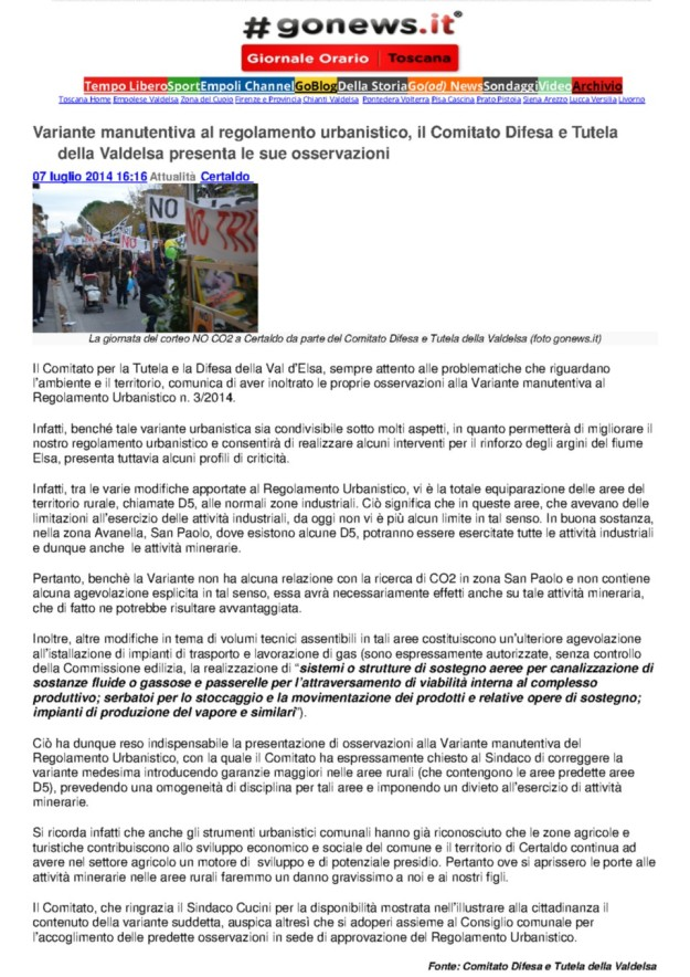 2014.07.07 gonews_Comitato presenta osservazioni al Reg.Urb.